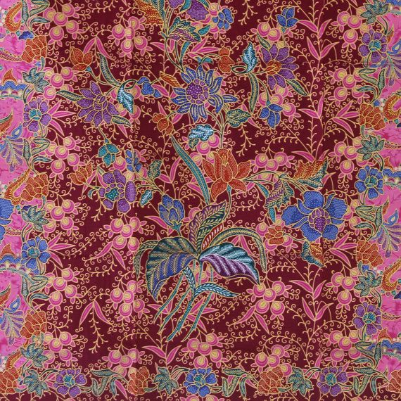 pink  flowers cotton traditional Indonesian Batik by TheThailand