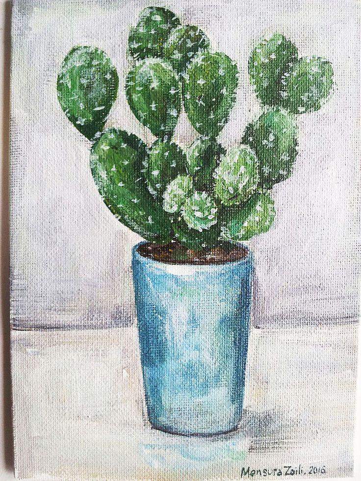 Peinture de cactus Petite peinture Peinture par MensuraZoili