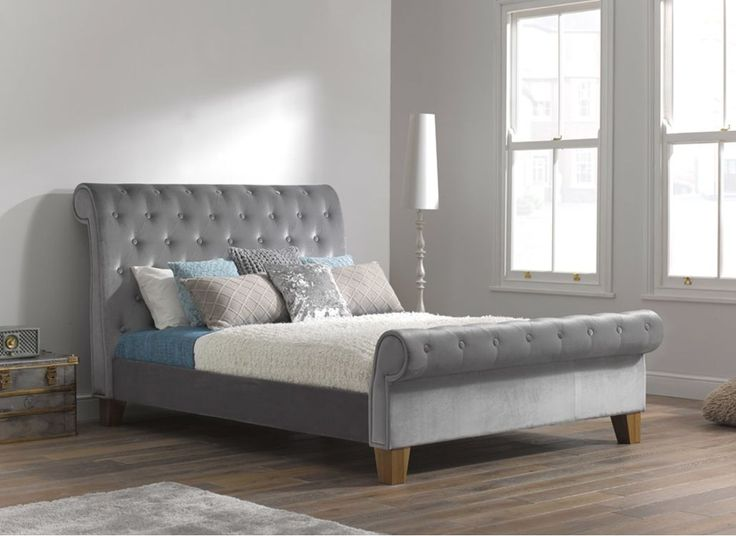 Como Silver Fabric Upholstered Bed Frame