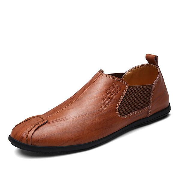 Men Casual Hand Stitching Genuine Leather Elastic Flat Oxfords - US$44.89