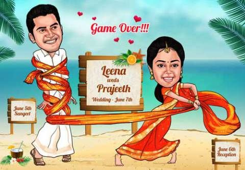 Unique Indian wedding invitation card ideas | Elocaricatures