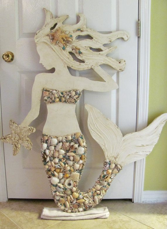 Made to Order Large Hand Made Mermaid Beach Wall Art Mixed Sea shells, Starfish, Textured Sculpture Mosaic, Signage, Sea Siren, Vintage Look