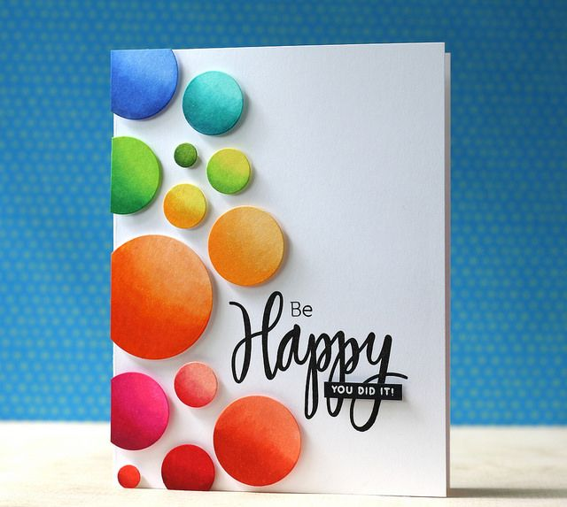 SSS-Ring Frame die, Happy & Smile stamp card by Laura Bassen.