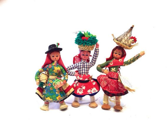 Vintage Portugese Folk Dolls Set of Three International Dolls Portugal Made in Portugal Ladies Women