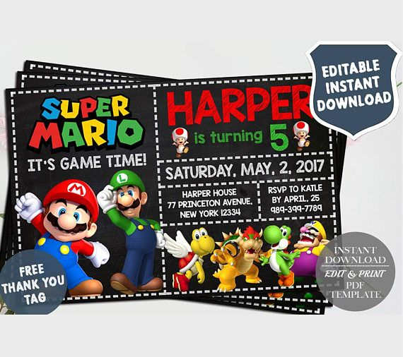 Instantly download, edit and print this Super Mario Invitation. Our DIY editable PDF template(s) are easy to edit and print yourself with Adobe Reader (download is free). You simply copy the fonts that we already provide then you can add your own wording then print from home, local