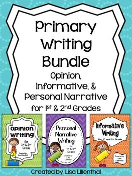 Common Core Writing: This bundle of three primary writing packets, each with two writing projects, meets Common Core Standards. Informative, personal narrative, and opinion writing is covered. That's a total of six complete writing projects to guide your students through each stage of the writing process.The individual writing packets can be purchased separately here:Informative PacketPersonal Narrative PacketOpinion PacketInformative Writing Packet:With this informative/explanatory writing…