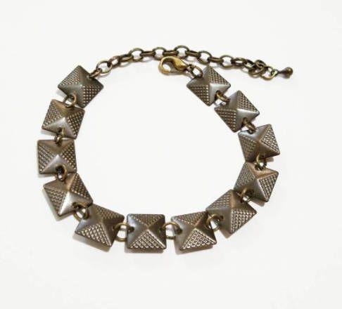 Antique Bronze Square Connector Charm Bracelet , Antique Brass Chain Bracelet, Bohemian Chain Bracelet for Women, Beaded Bracelet