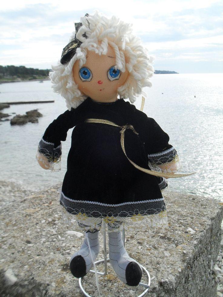 Rag doll in the black velvet dress by Grindolls on Etsy