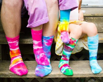 Craft Knife: Tie-Dyed Socks on our Feet. New life for tired, stained socks. Even better no matching issues. ;-)