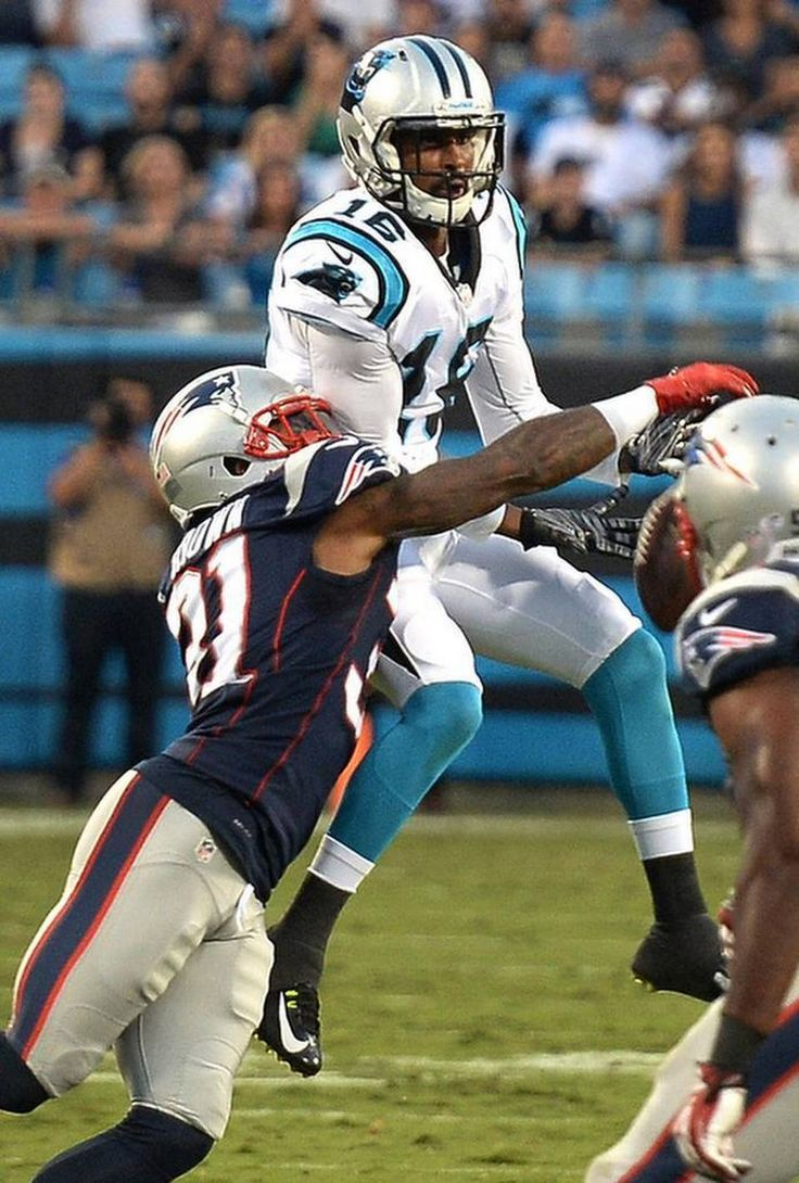 Carolina Panthers wide receiver Corey Brown, center, is unable to catch a pass from quarterback Cam Newton as New England Patriots cornerback Tarell Brown, left, applies defensive pressure during first quarter action at Bank of America Stadium in Charlotte, NC on Friday, August 28, 2015.