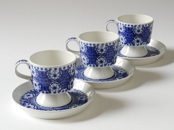 Three Vintage ARABIA Finland ALI Blue & White by NordicForm, £50.00