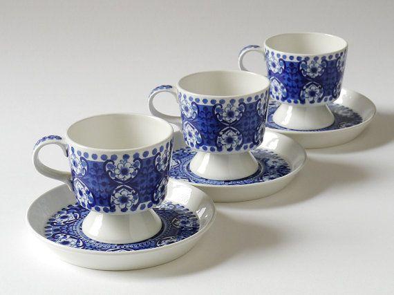 Three Vintage ARABIA Finland ALI Blue & White Espresso Coffe Cups, by Raija Uosikkinen 1960s, by NordicForm, £50.00