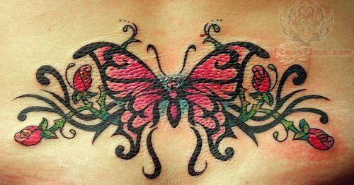 dainty+tribal+lower+back+tattos | Tribal Beautiful Butterfly Lower Back Tattoo