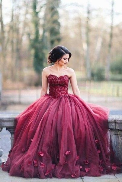 2016 Burgundy Ball Gown Wedding Dresses with 3D-Floral Appliques www.babyonlinedress.com Use coupon code: dress to get extra $10 Off