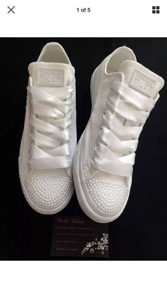 Wedding bridal customised converse pearls by Bellebling on Etsy