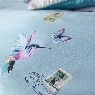 584718ce5ab0 Heavenly Hummingbird Reversible Duck Egg Duvet Cover and Pillowcase Set |  Dunelm