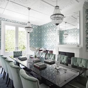 Denai Kulcsar Interiors - dining rooms - teal wallpaper, teal damask wallpaper, teal and silver damask wallpaper, teal and silver wallpaper,...