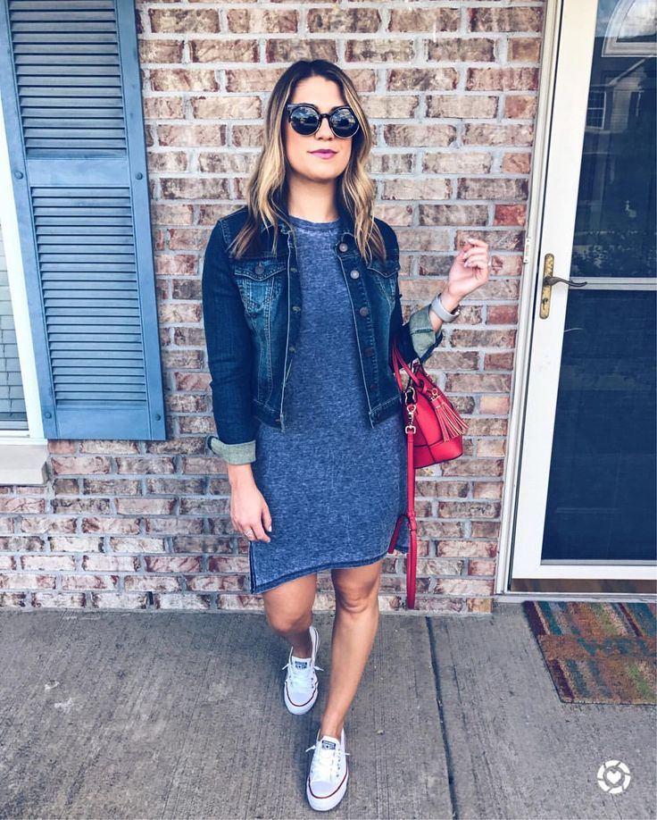 Finding the perfect tshirt dress and denim jacket for Petites isn't easy! Found both at Charlotte Russe! Add converse slip ons for an effortless look. www.brittbehindthescenes.com