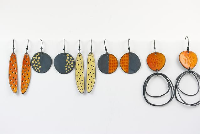 Caroline Finlay Jewellery. Inspiration for the designs, texture and enamelled sufaces comes from the Scottish sea and landscapes. $132.00-192.00. ,  Jamie Hollier