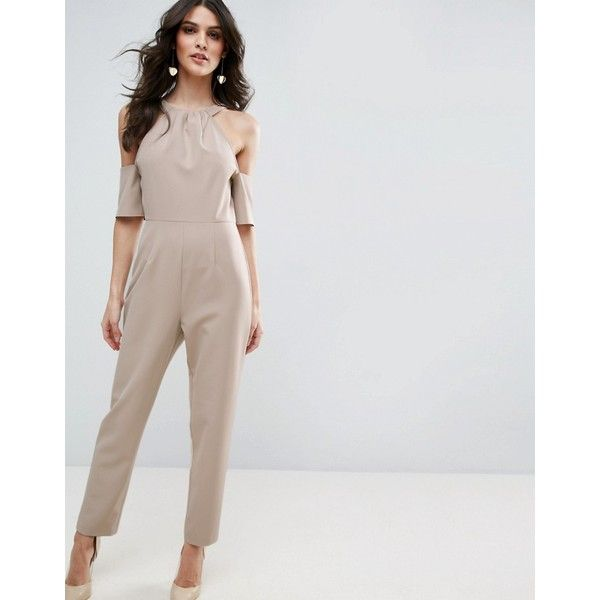 ASOS Jumpsuit with Cold Shoulder Detail (240 SAR) ❤ liked on Polyvore featuring jumpsuits, beige, asos jumpsuit, zipper jumpsuit, tall jumpsuit, going out jumpsuits and asos