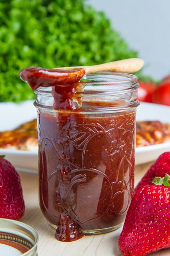 Roasted Strawberry BBQ Sauce // A great recipe idea for fresh summer strawberries!