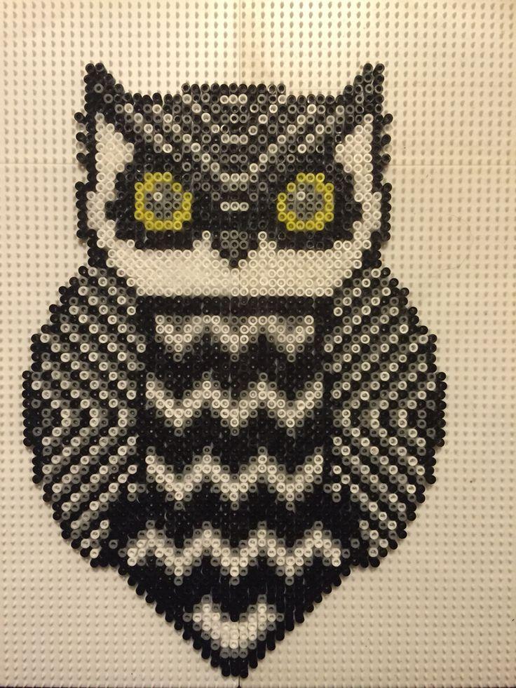 Ugle sort hvid grå i mini Made by Sisse Nielsen