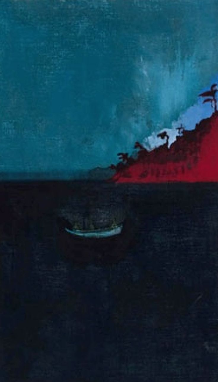 Done by peter Doig. It reminds me of a scene from the life of pi. Even if you think you are alone, life will still always surround you