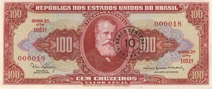 100 Крузейро (1970) Бразилия (Brazil) Южная Америка