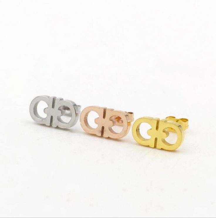 316L stainless steel IP gold/rose gold/silver furnace plating Double D shape stud earrings