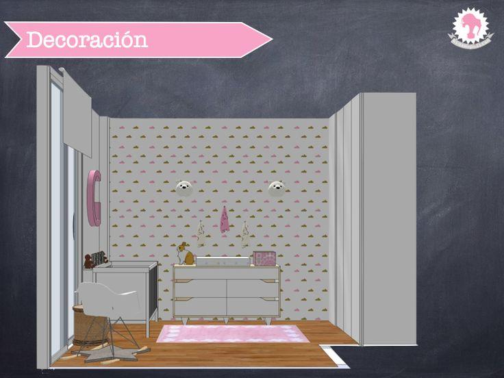 Dormitorio bebé chic niña. Alfombra Lorena Canals. Vinilos. Ikea. http://kidsmopolitan.com/dormitorio-para-un-bebe-muy-chic/