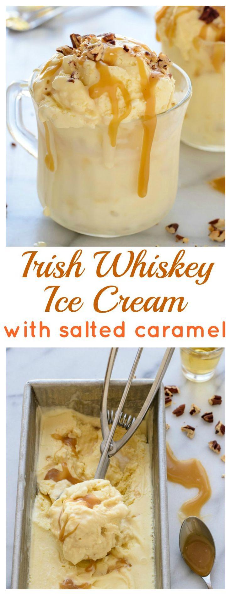 Irish Whiskey Ice Cream with Salted Caramel Sauce. Warning: it's BOOZY. Must make for #stpatricksday !