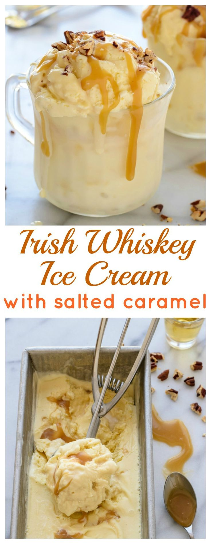 Irish Whiskey Ice Cream with Salted Caramel Sauce. Warning:  it's BOOZY.
