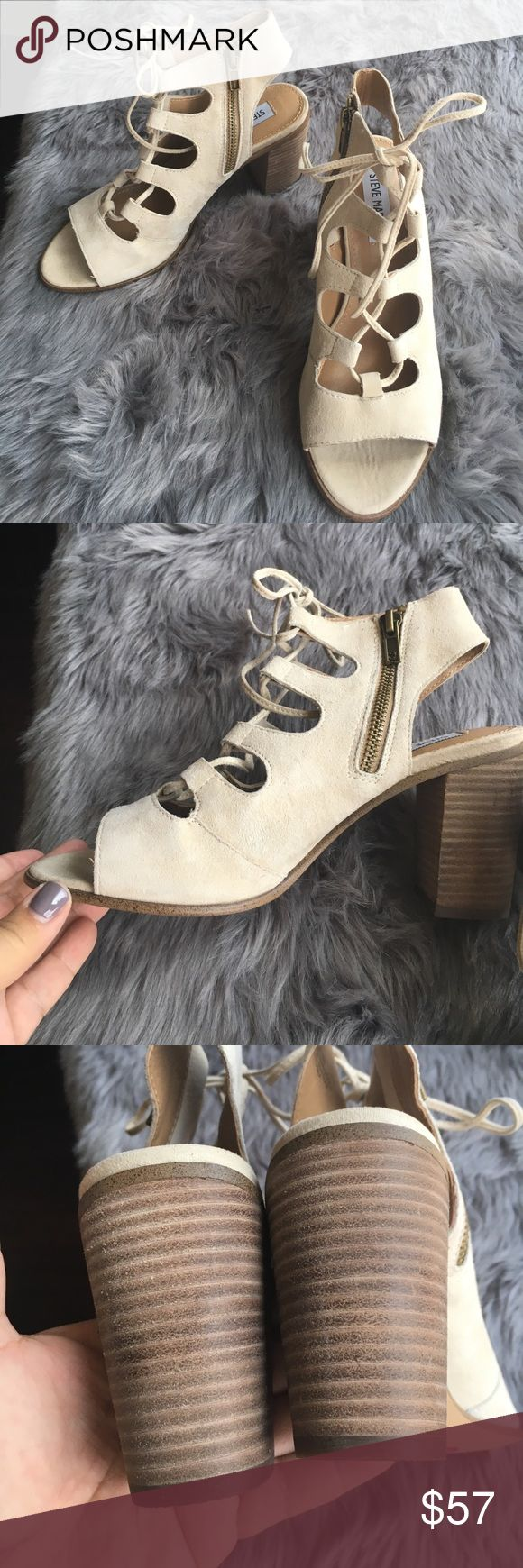 """BNWT Steve Madden Lace-up Ivory Suede Heels size 7 Gorgeous! On Trend! Lace up cream Suede Steve Maddens feature a 3"""" stacked wood heel, side zipper and Suede ties up the front (great for adjusting for width!) Perfect for all your summer outfits. These shoes are brand new, never worn and still have the tag on the bottom. Size 7. Steve Madden Shoes"""
