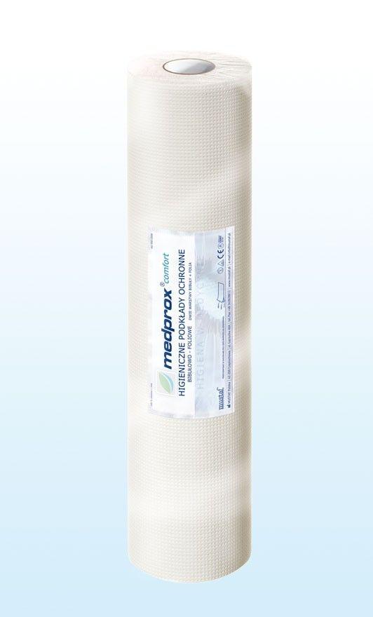 Prześcieradło jednorazowe MEDPROX comfort 50 cm, kolor biały - to higieniczne podkłady ochronne, wykonane są z dwóch warstw chłonnej bibuły i warstwy folii.