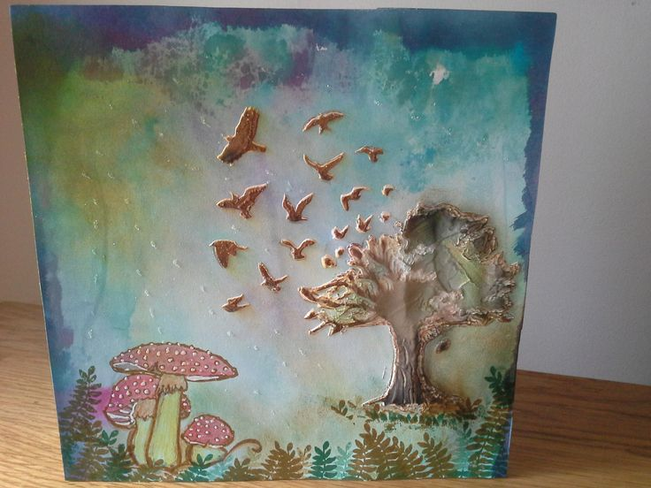 Tree, birds & Toadstool.