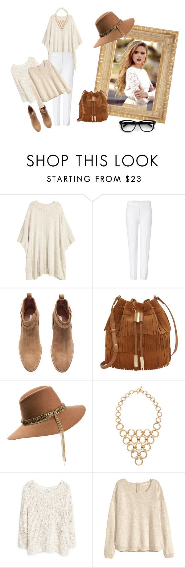 """Winter Whites  #1"" by jajalamajala ❤ liked on Polyvore featuring H&M, ESCADA, Vince Camuto, Maison Michel and MANGO"