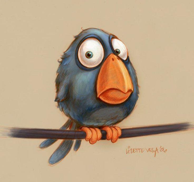 Днем, смешные нарисованные птички картинки