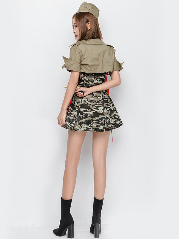 d1e3c5b146b29 Halloween Army Costume Sexy Women Camo Printed Dress Outfit 3 Pieces #Sexy,  #Women