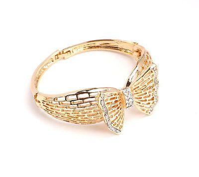 African Costume Gold Plated Jewelry Set Fashion Dubai Rhinestone Bow Necklace
