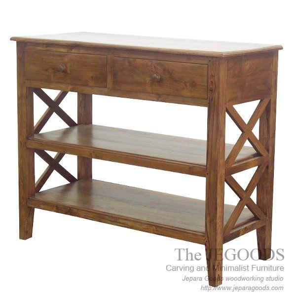 Teak Contemporary Minimalist Console Table - Jepara Furniture Exporter Manufacturer with Wholesaler Price