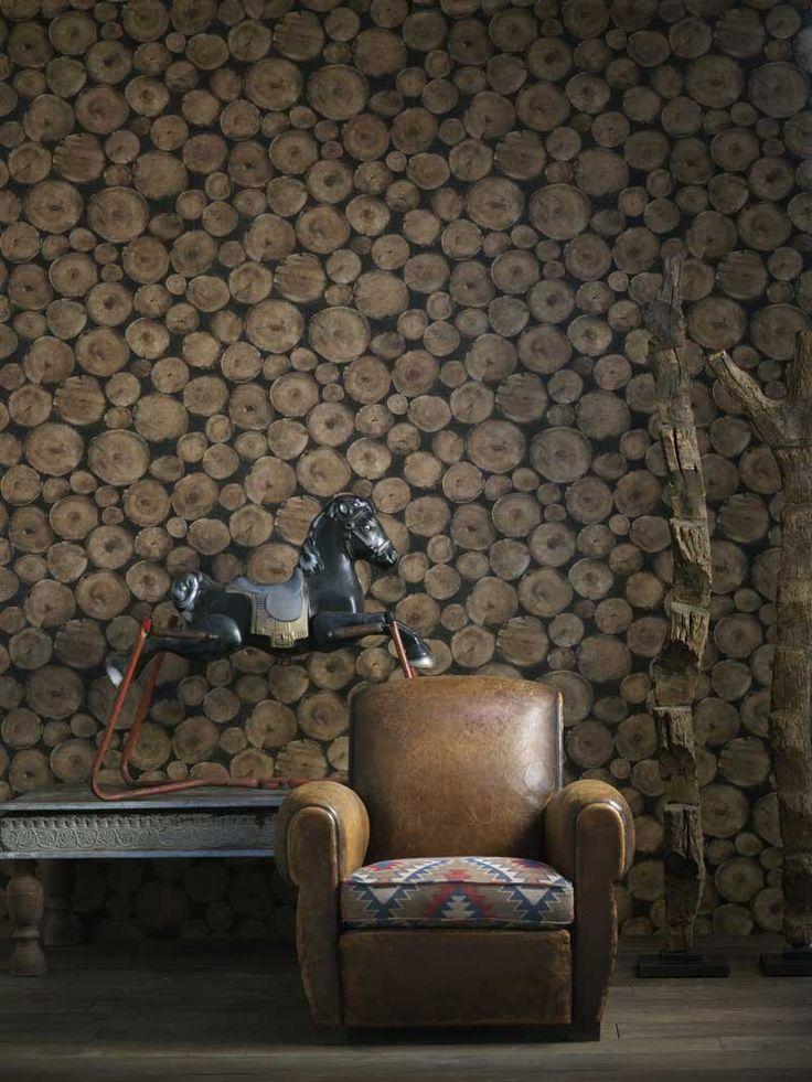 Lumberjack Wallpaper. A log pile wallpaper design featuring intricately detailed rustic sawn wooden logs. #interiors #wallpaper #brown #furniture #country #chalet