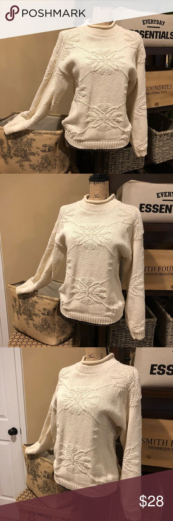 AMANA  Gorgeous Cable Knit Sweater Sz M 🎄AMANA  Gorgeous Cable Knit Sweater 💯 Cotton soft, cozy and comfy.   This is so warm and comfortable  preloved in excellent condition. Size: Medium  Arm pit to arm pit 20 inches  Shoulder length down to the bottom 23 inches Amana Sweaters Crew & Scoop Necks