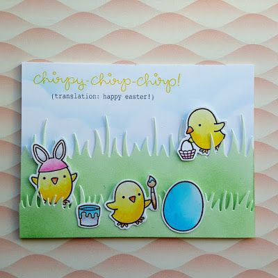 "An Easter/ Spring themed card, using the ""Chirpy Chirp Chirp"" stamp set from ""Lawn Fawn""."