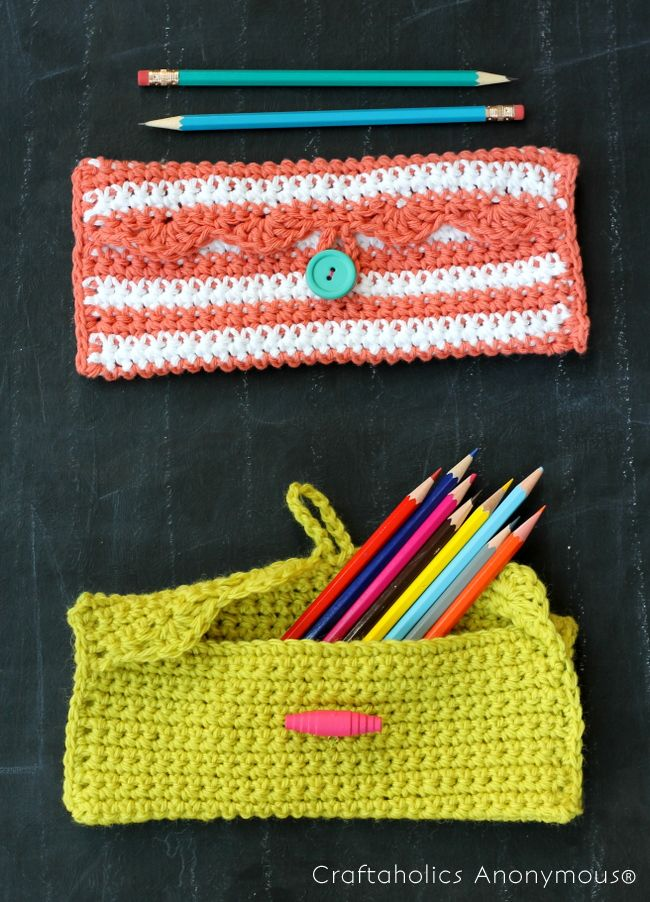 Simple Crochet Pencil Pouch Hey there! It's Alexis back with a new crochet pattern for you all today. This little crochet pencil pouch is super cute, but also happens to be super simple - it istotally doable for a crochet beginner. In fact