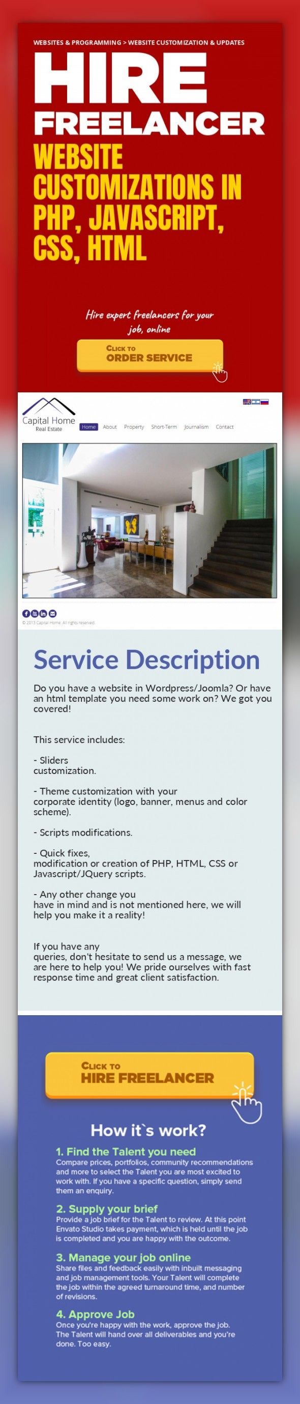 Website Customizations in PHP, JavaScript, CSS, HTML Websites & Programming, Website Customization & Updates   Do you have a website in Wordpress/Joomla? Or have an html template you need some work on? We got you covered!   This service includes:   - Sliders customization.  - Theme customization with your corporate identity (logo, banner, menus and color scheme).  - Scripts modifications.  - Quick...