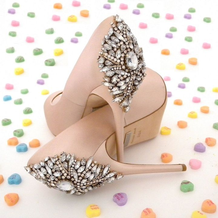 Be Mine. Happy Valentine's Day!  Badgley Mischka wedding shoes. Blush shoes. Most desired bridal shoes. WANT!