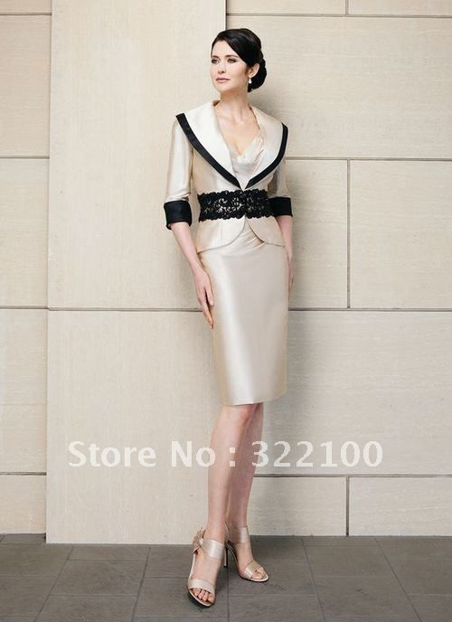 M2097 haute couture black lace sash mother of the bride jacket dresses in champagne on AliExpress.com. $97.00