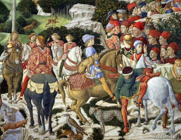 Benozzo di Lese di Sandro Gozzoli - Giuliano de' Medici (1453-78) as Melchior, detail from the Journey of the Magi cycle in the chapel, c.1460