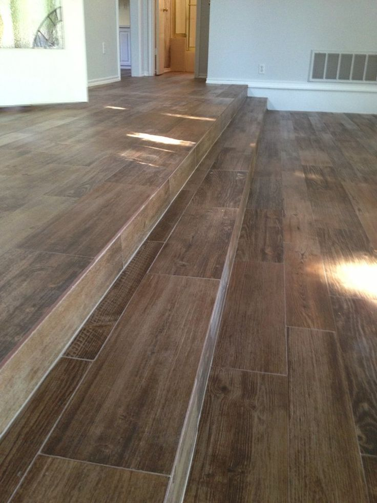 Porcelain Wood Look Ceramic Tile On the Stairs | All Flooring Install - Wood Look Porcelain Tile - Long Steps ...