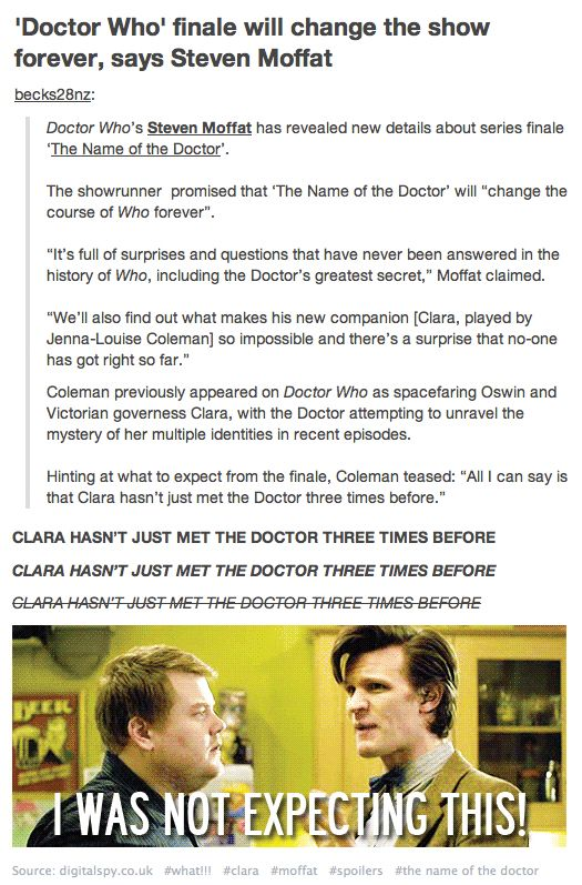 """I....just...I'm not ok with this """"changing the show forever."""" aaaaah, IDK WHAT TO FEEL. please moffat, do not mess this up okay."""